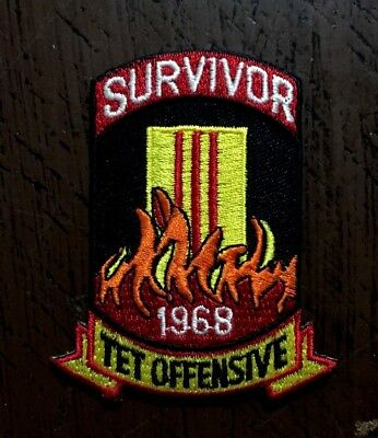 """329 TET Offensive 1968 Patch SURVIVOR 2/"""" x 3 1//2/"""" Embroidered Patch 26206"""