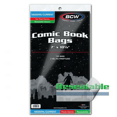 (5) Bcw Comic Book Resealable Thick Current Modern Age 2 Mil Soft Poly Bags