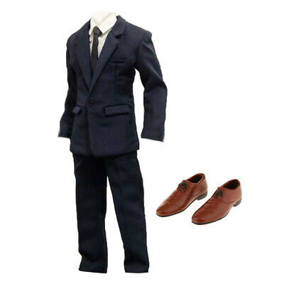 """1/6 Scale Suit Full Set & Shoes For 12"""" Hot Toys Enterbay BBI Male Figure"""
