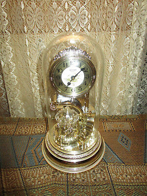 "RHYTHM  Motion & Musical Glass Dome  Anniversary Mantle Clock ""Tempus Fugit"""