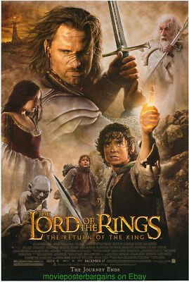 LORD OF THE RINGS RETURN OF THE KING MOVIE POSTER DS 27x40 + LOTR MINI-SHEET