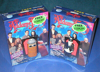 ☆ 2 SEALED 1991 ADDAMS FAMILY Cereal Box w Lurch Cousin ITT FLASHLIGHTS Premium