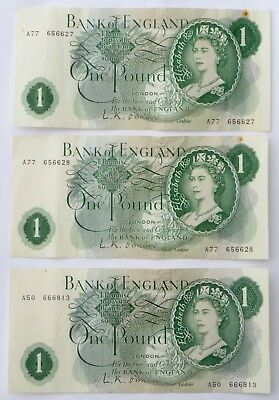 Great Britain 1 Pound Notes X3    1960S