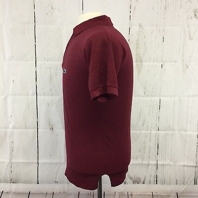 VTG Le Tigre Polo Shirt Mens Medium Red Burgundy 80's Preppy Short Sleeve Logo