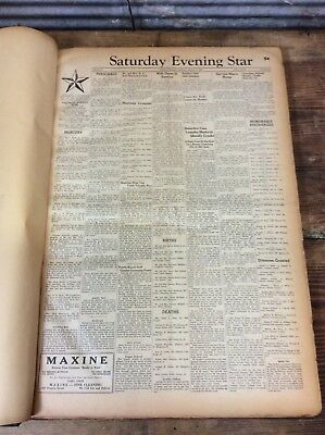Antique Vtg 1946 JACKSON MICHIGAN Saturday Evening Star Archive Book Newspaper