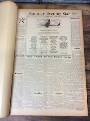 Antique Vtg 1948 JACKSON MICHIGAN Saturday Evening Star Archive Book Newspaper