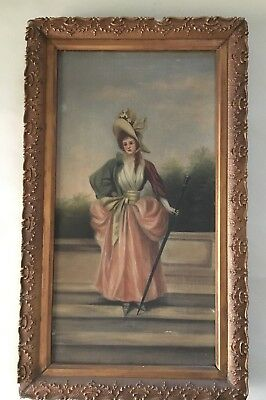 $$Reduces$$  Antique Oil Painting Beautiful Woman Auburn Hair