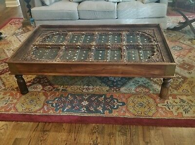Antique Ornate Carved Wood Spanish Moroccan Door Brass Mounts Coffee Table