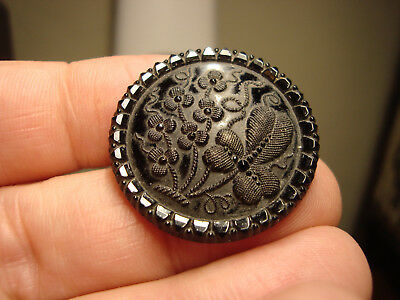 Antique LACY black glass floral SHAMROCK design button