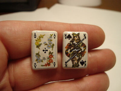Antique Porcelain LOT of 2 PLAYING CARDS buttons
