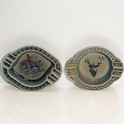Wade Co Armagh Ashtray Irish Porcelain Horse Dogs Hunting Scene & Deer Set Of 2
