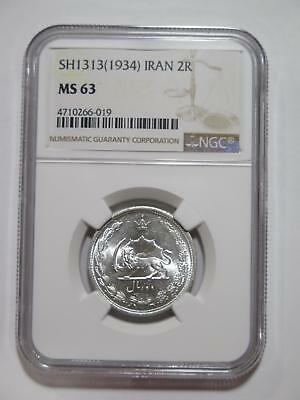 Middle East Sh1313 1934 2 Rials Silver Type Ngc Ms63 World Coin Collection Lot