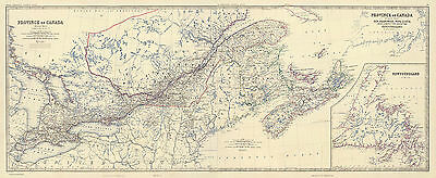 1861 Canada Map Wall Art Poster Vintage History Home School Office Newfoundland