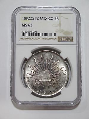 Mexico 1892 Zs Fz 8 Reales Cap & Rays Silver Ngc Ms63 Toned Coin Collection Lot