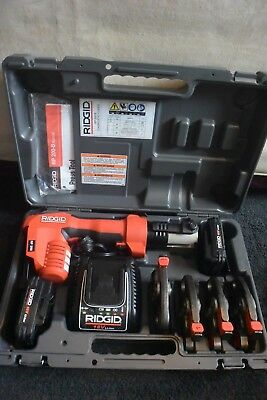 "Ridgid Porpress 18v PEX Crimper Set Model RP200 4 Jaws 1/2"" 3/4"" 1"" and 1-1/4"""