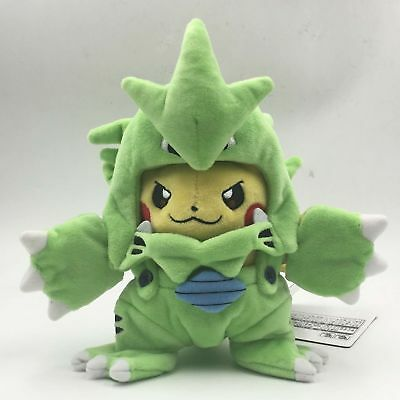Pokemon Center Poncho Tyranitar Pikachu Soft Stuffed Plush Doll Toy 8 Inch Gift