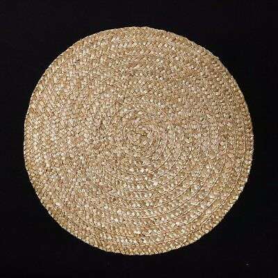 Vintage Round Placemats Wicker Woven Rattan Straw Reed Dining Boho Table Set 4