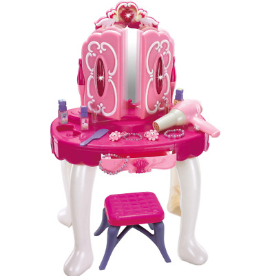 Musical Dressing Table Vanity Light Mirror Glamour Make Up Desk With Stool Toy