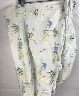 Pottery Barn Kids PBK Crib Toddler flat sheet Organic Safari Elephants Monkeys