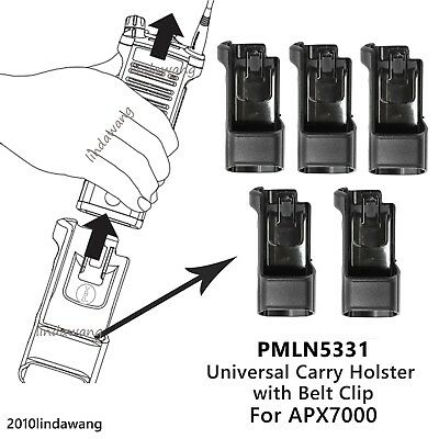 5x PMLN5331 Universal Carry Holster Case for Motorola APX7000 Portable Radio