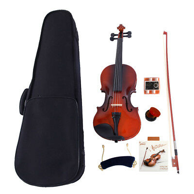 New Solid Wood Natural 1/8 Acoustic Violin + Fiddle Accessories for Beginner