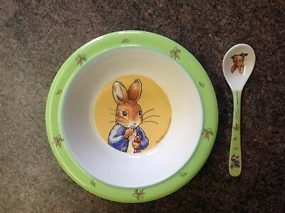 Peter Rabbit Child's melamine bowl and matching spoon set