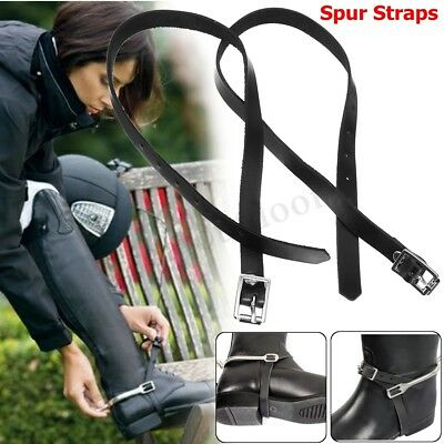 1 Pair High Quality Shires Leather Spur Straps Buckles Riding Black Hunting New