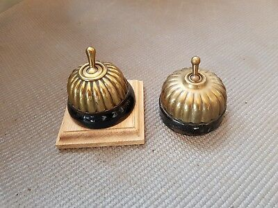 Pair Of Vintage Round Light Switches - Ceramic And Brass Effect