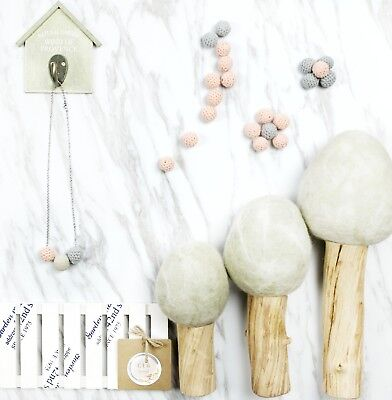 Tiny Simple Small Pink Grey Minimal Crochet Lava Necklace Diffuser Handmade Nice