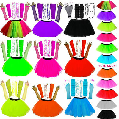 New Girls Neon Uv Tutu Skirt Set 5 Pieces One Size Fancy Dress Hen Party Pink