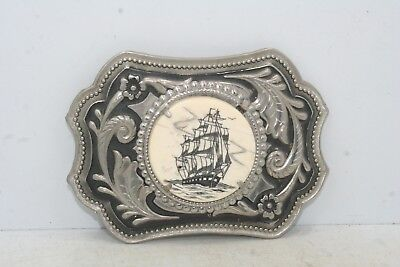 "Vintage Scrimshaw Style Ship Design Belt Buckle - Accepts 2"" Belt"