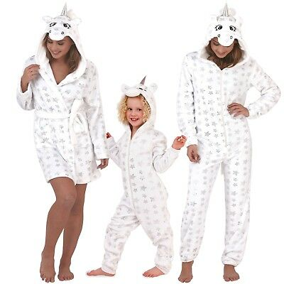 Robe 1Onesie Girls Women Unicorn Hooded Matching Mother & Daughter Loungewear