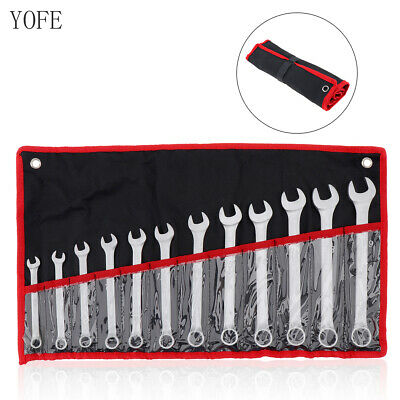 12 Pcs Combination Ratcheting Wrench Set Metric 8-19MM & Standard Spanner Tool