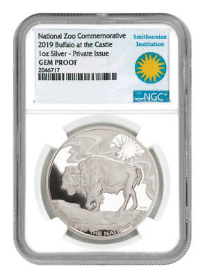 2019 Smithsonian Zoo Buffalo 1 oz Silver Commemorative Medal NGC GEM PF SKU55675