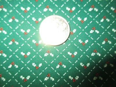 CHRISTMAS Vintage TINY HOLLY LEAVES BERRIES On GREEN 1980's COTTON Fabric-1 yd