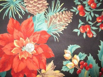 CHRISTMAS Vintage POINSETTIAS PINECONES On BLACK 1980's COTTON Fabric-over 1 yd