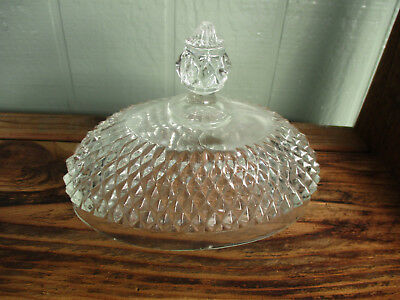 Vintage Indiana Diamond Point Oval Butter Dish with Lid - Clear or Black or Lid