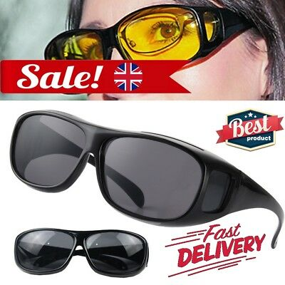 The Real Wrap Arounds Fit Over Night Optic Anti Glare Vision Driving HD Glasses