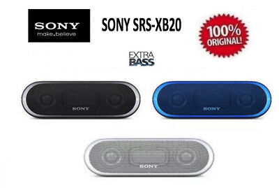 SONY SRS-XB20 Portable Wireless BLUETOOTH® Speaker Water-Resistant BLUE OR WHITE