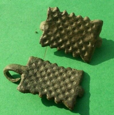 Pair Of Ancient Celtic Bronze Amulet Decoration With Solar Symbols - 100 Bc