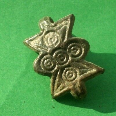 Ancient Celtic Gilded Bronze Amulet Decoration With Solar Symbols - 100 Bc