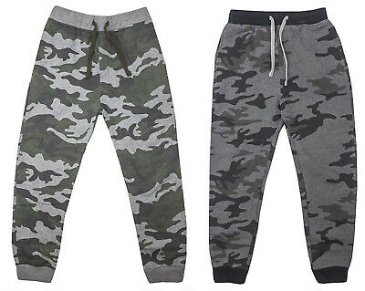 Ex Chain-store Army Camouflage Ribbed Cuff Tracksuit Bottoms Joggers for Boys
