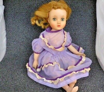 "Vintage Madame Alexander 15"" Doll Multi Jointed Sleep Eyes Lavender Dress Repair"