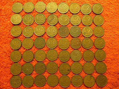 Canadian Cent Collection 1932-1961 * Lot of 56 Canadian Small Cents * Free Ship