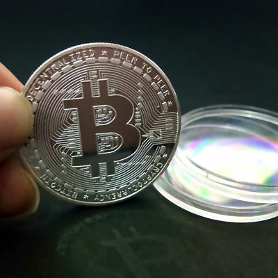 Silver BITCOIN!! Plated Physical Bitcoin in protective acrylic case HOT SELLING!