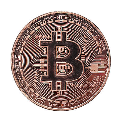 Rose Gold Bitcoin Round Plated Physical Commemorative Collectors Coin#