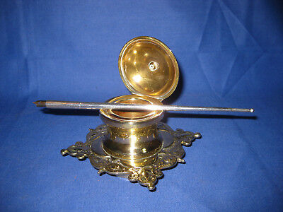 Lovely Quality Antique Solid Brass Inkwell.