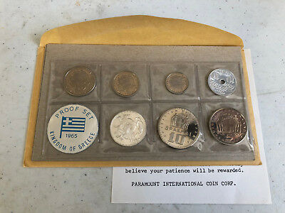 1965 Kingdom of Greece 7 Coin Proof Set with Silver 20 Drachmai & Envelope