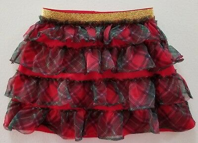 Holiday Time Christmas Skirt Tutu Red Plaid size 2T Gold sparkly waist