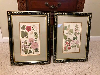 Pair of Framed Japanese Floral Prints w/ Custom Matting & Frames